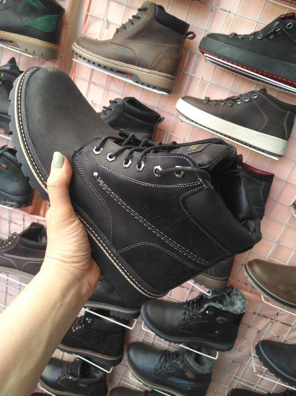 Мужские ботинки кожаные зимние черные rivest r