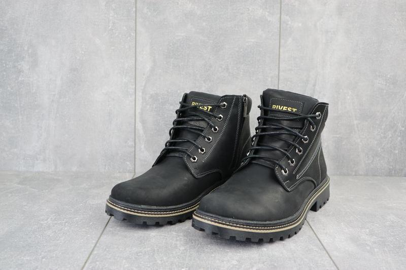 Мужские ботинки кожаные зимние черные rivest r - Фото 4