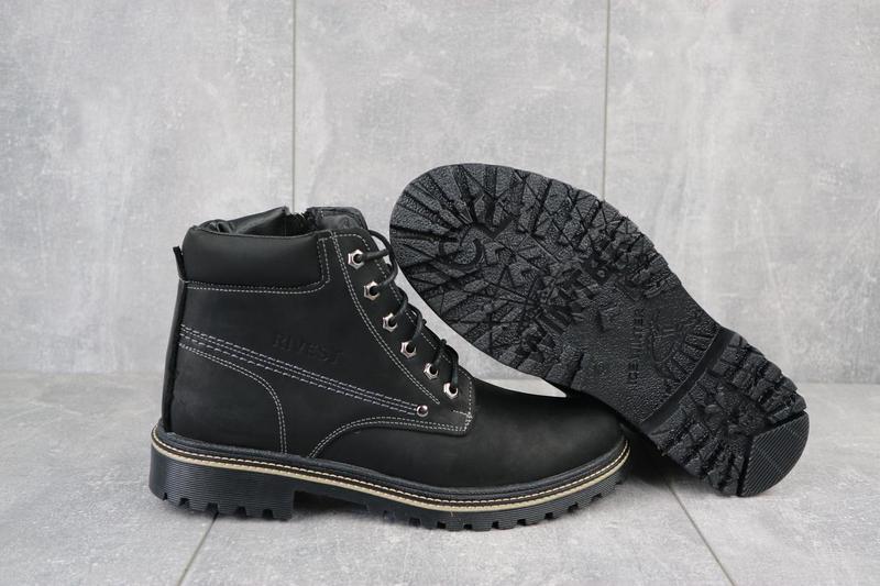 Мужские ботинки кожаные зимние черные rivest r - Фото 5
