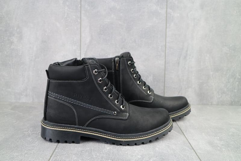 Мужские ботинки кожаные зимние черные rivest r - Фото 6