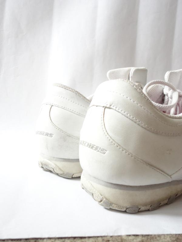 Белые кожаные кроссовки skechers р.39 (стелька 25,5) - Фото 2