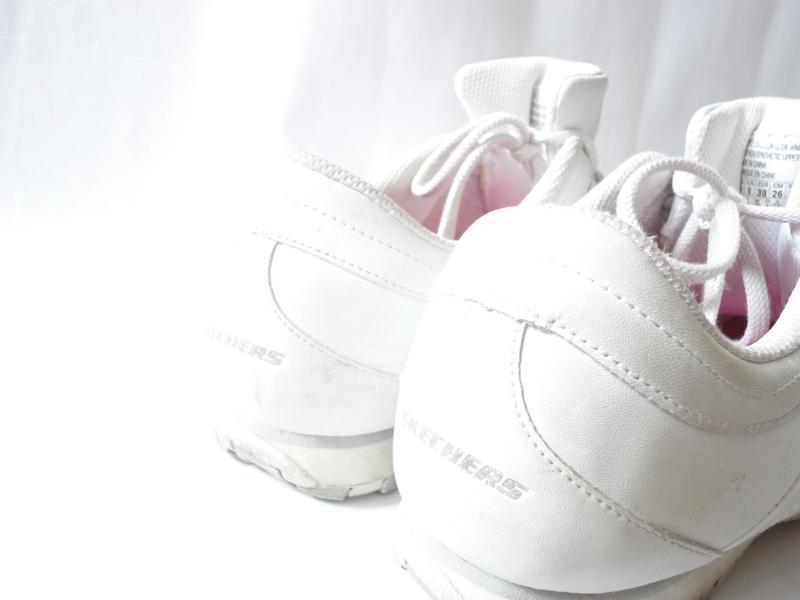 Белые кожаные кроссовки skechers р.39 (стелька 25,5) - Фото 3