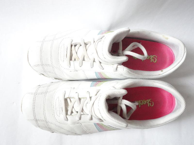 Белые кожаные кроссовки skechers р.39 (стелька 25,5) - Фото 4
