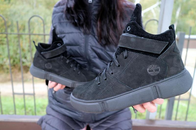 Женские ботинки замшевые зимние черные-нубук road-style бс105-01z - Фото 2