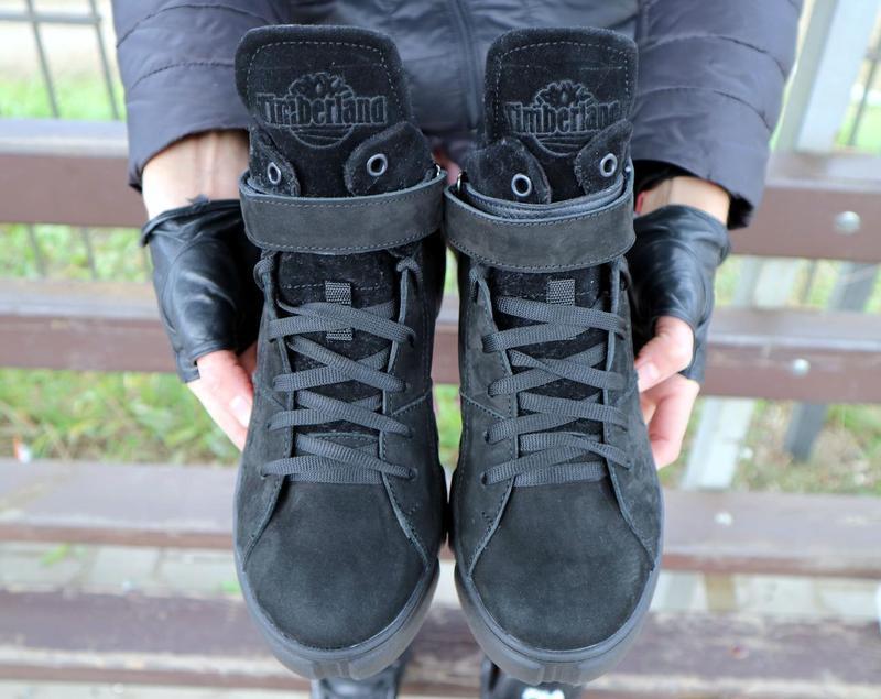 Женские ботинки замшевые зимние черные-нубук road-style бс105-01z - Фото 3