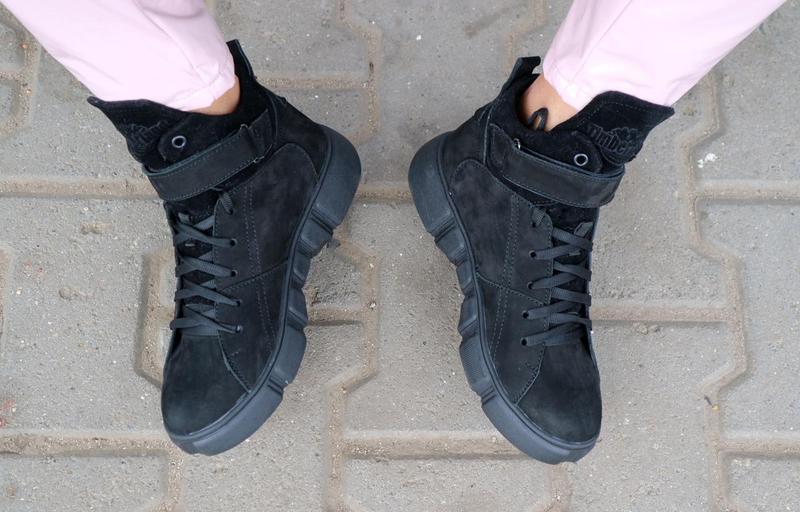 Женские ботинки замшевые зимние черные-нубук road-style бс105-01z - Фото 4