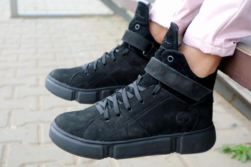 Женские ботинки замшевые зимние черные-нубук road-style бс105-01z - Фото 5