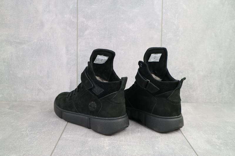 Женские ботинки замшевые зимние черные-нубук road-style бс105-01z - Фото 6
