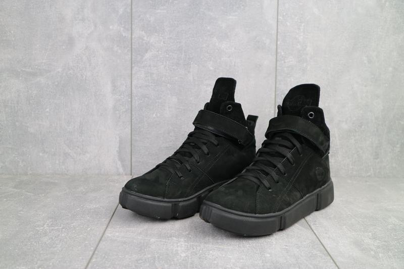 Женские ботинки замшевые зимние черные-нубук road-style бс105-01z - Фото 7