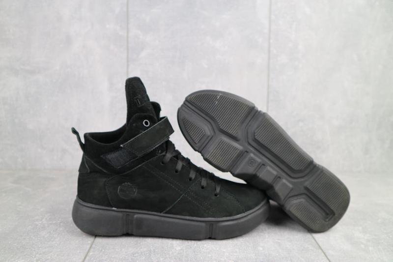 Женские ботинки замшевые зимние черные-нубук road-style бс105-01z - Фото 8