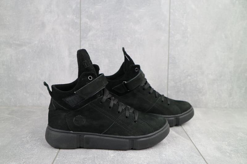 Женские ботинки замшевые зимние черные-нубук road-style бс105-01z - Фото 9