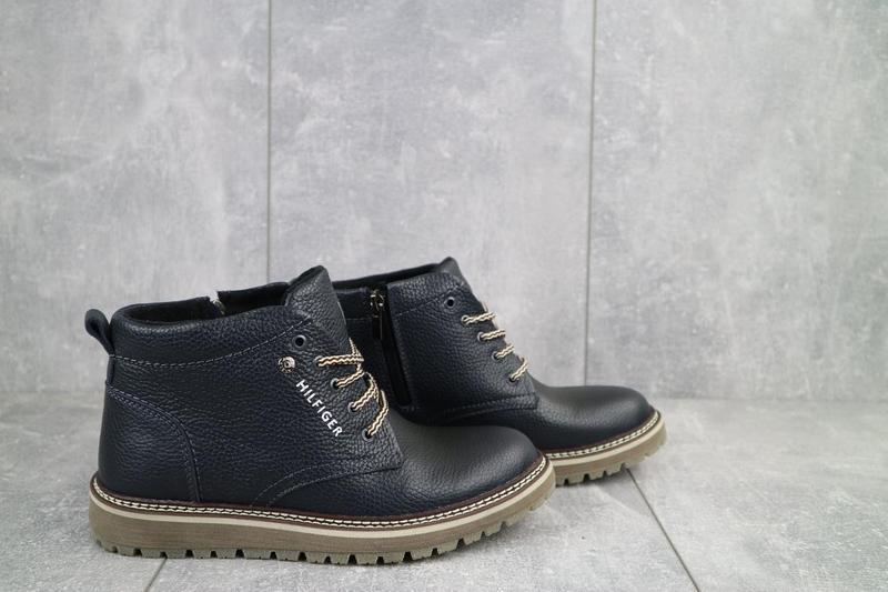 Подростковые ботинки кожаные зимние синие anser 65 - Фото 2