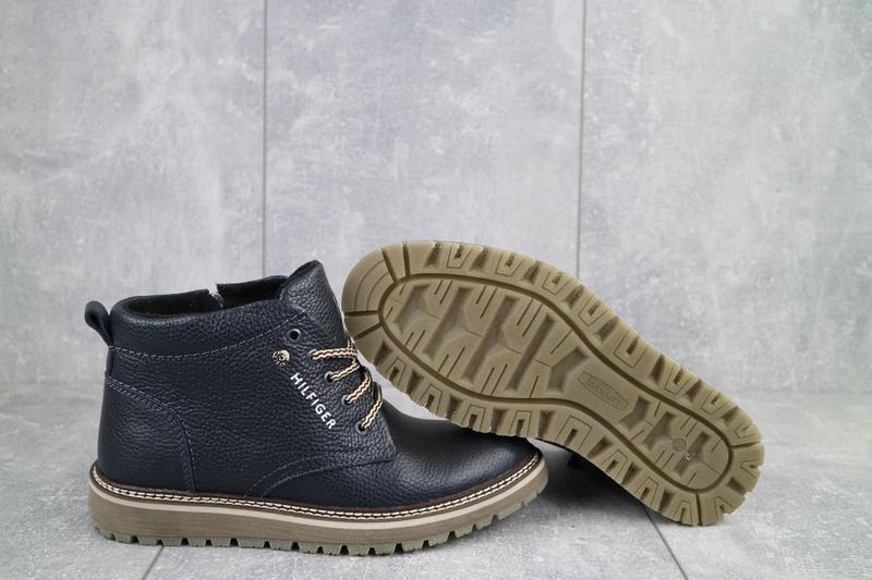 Подростковые ботинки кожаные зимние синие anser 65 - Фото 3