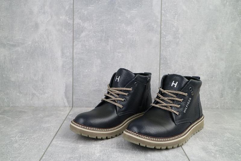 Подростковые ботинки кожаные зимние синие anser 65 - Фото 4