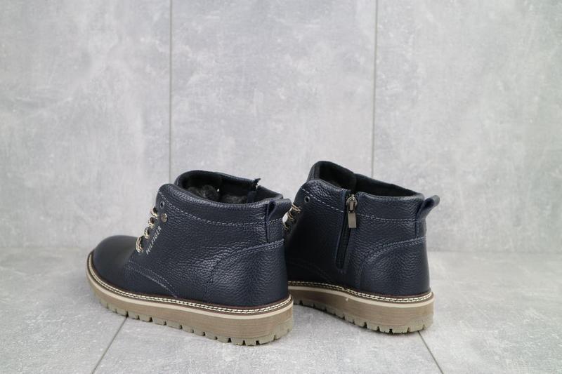Подростковые ботинки кожаные зимние синие anser 65 - Фото 5