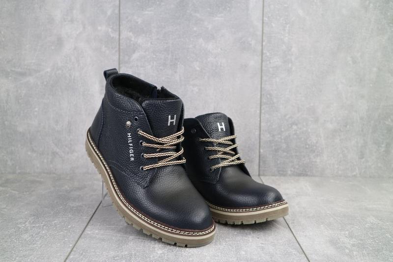 Подростковые ботинки кожаные зимние синие anser 65 - Фото 6