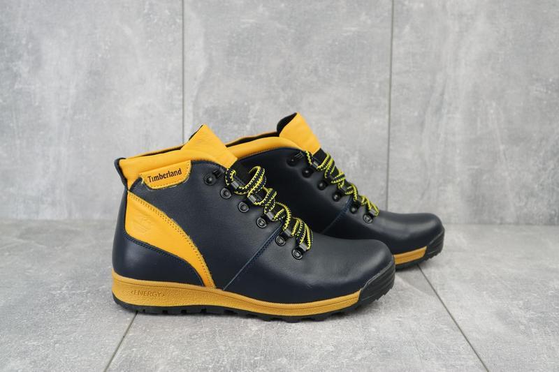 Подростковые ботинки кожаные зимние синие-рыжие brand t2 - Фото 2