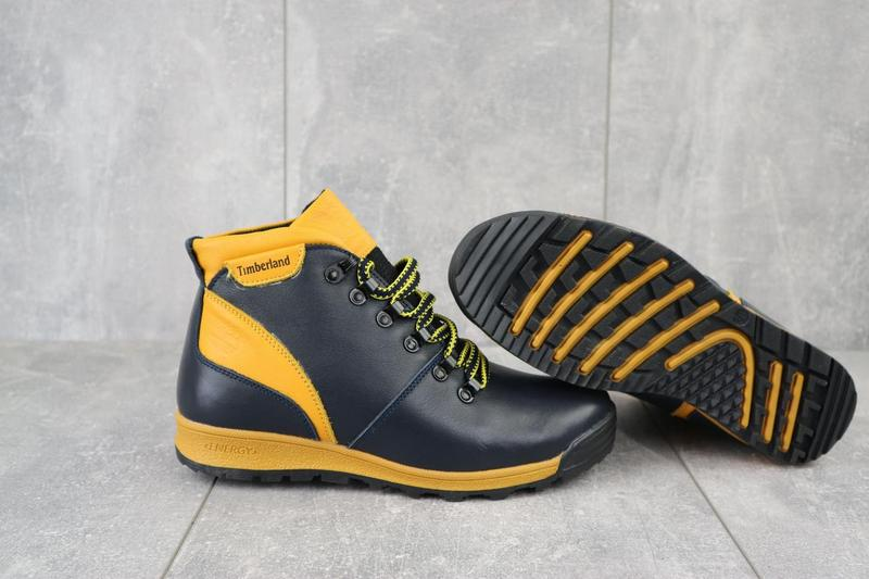 Подростковые ботинки кожаные зимние синие-рыжие brand t2 - Фото 3