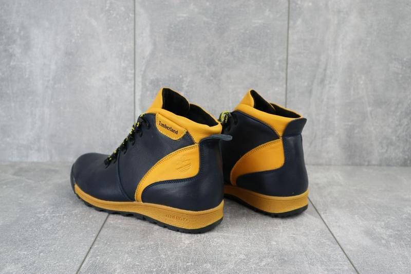 Подростковые ботинки кожаные зимние синие-рыжие brand t2 - Фото 5