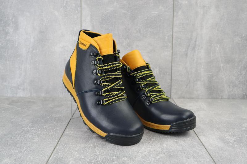 Подростковые ботинки кожаные зимние синие-рыжие brand t2 - Фото 7