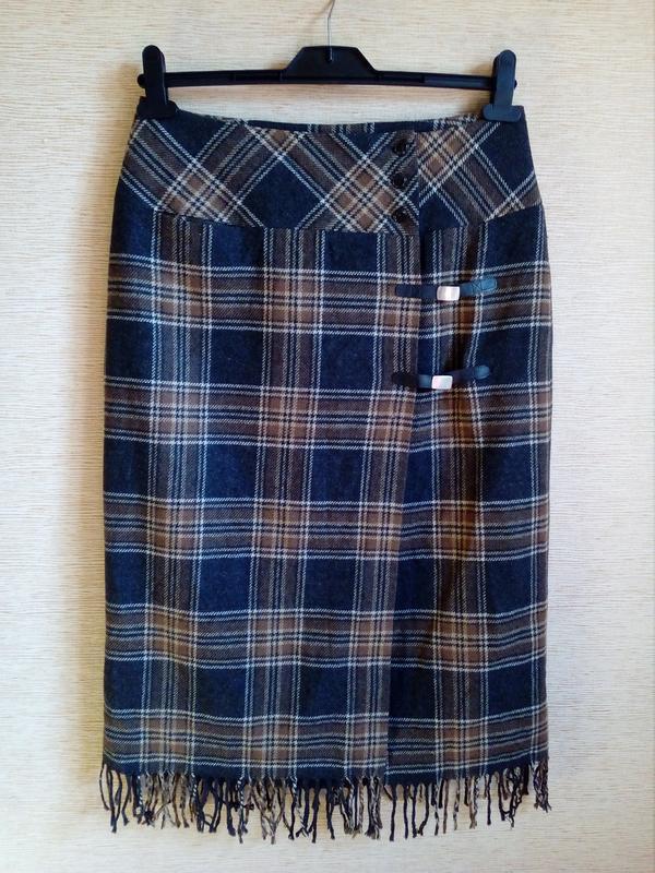 Трендовая шерстяная юбка карандаш в клетку, на запах, с кисточ... - Фото 5