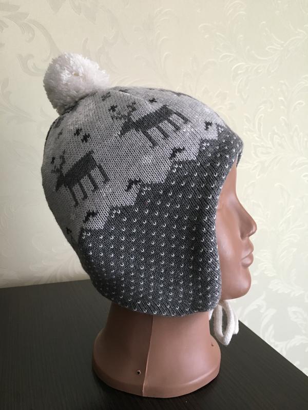 Теплая шапка h&m на флисе на 1-2 года