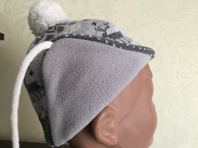Теплая шапка h&m на флисе на 1-2 года - Фото 2