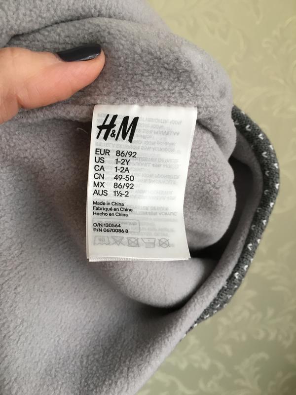 Теплая шапка h&m на флисе на 1-2 года - Фото 3