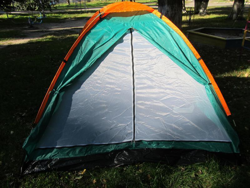 Палатка туристическая летняя трёхместная 2.1х2.1х1.3м - Фото 4