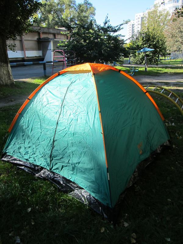 Палатка туристическая летняя трёхместная 2.1х2.1х1.3м - Фото 5