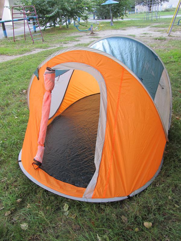 Палатка автомат летняя туристическая трехместная 190х235х100 см - Фото 4