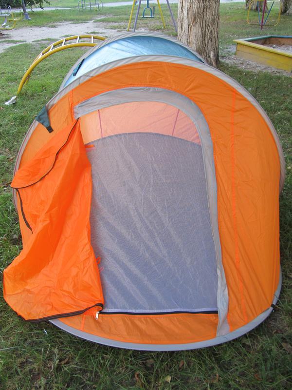 Палатка автомат летняя туристическая трехместная 190х235х100 см - Фото 6