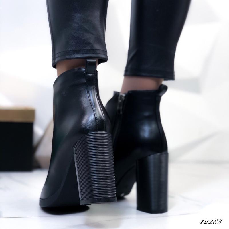 Ботильоны кожаные женские на каблуке - Фото 2