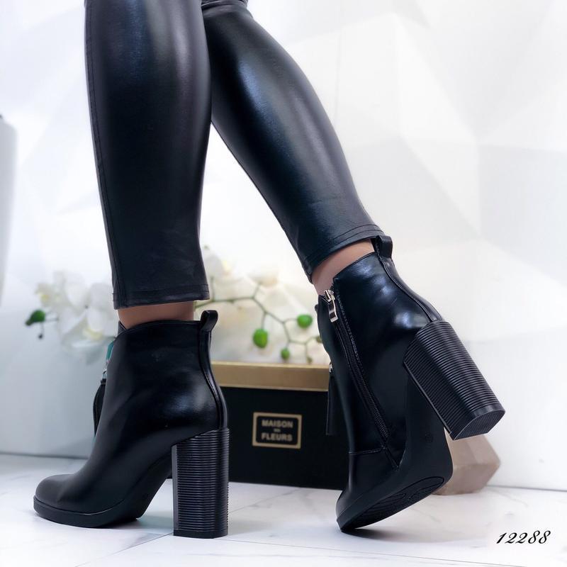 Ботильоны кожаные женские на каблуке - Фото 3
