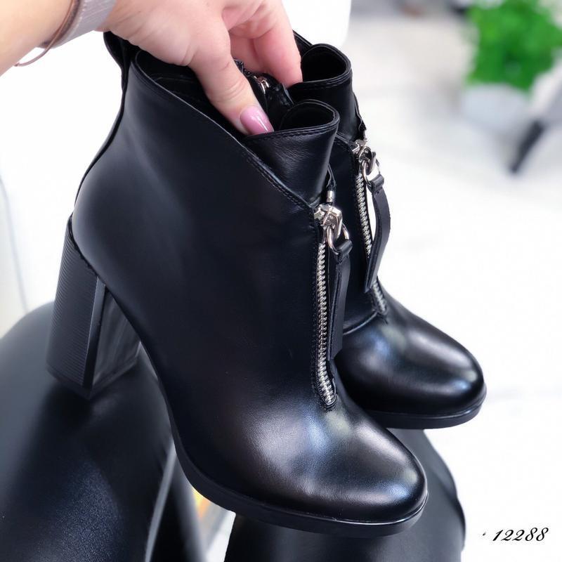 Ботильоны кожаные женские на каблуке - Фото 5