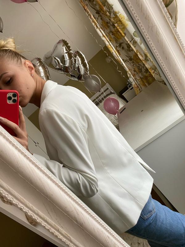 Шикарный белый базовый пиджак/ молочный пиджак - Фото 4
