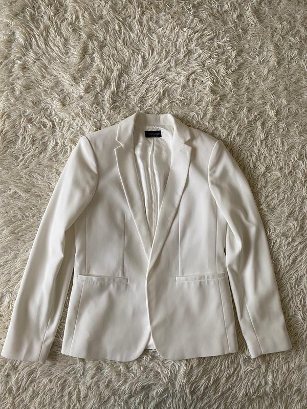 Шикарный белый базовый пиджак/ молочный пиджак - Фото 10