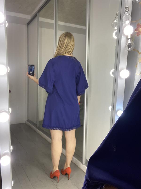 Актуальное платье туника с кружевом №37max - Фото 5