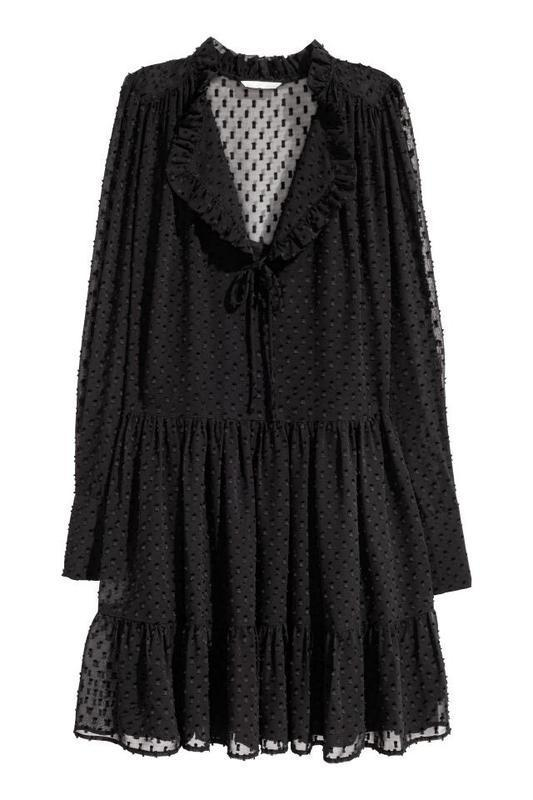 H&m платье шифон черное в крапинку № 74