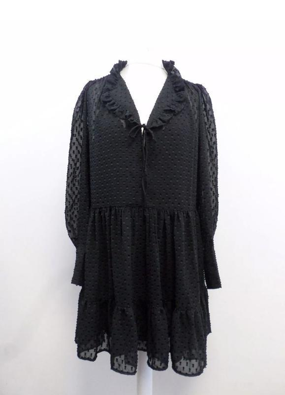 H&m платье шифон черное в крапинку № 74 - Фото 2