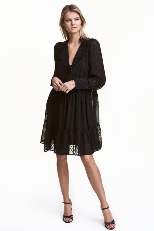 H&m платье шифон черное в крапинку № 74 - Фото 4
