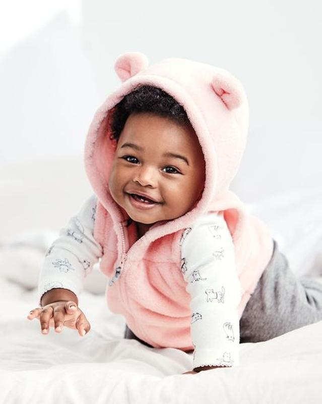 Комплект на девочку с розовой жилеткой carters 12, 18, 24 мес - Фото 2
