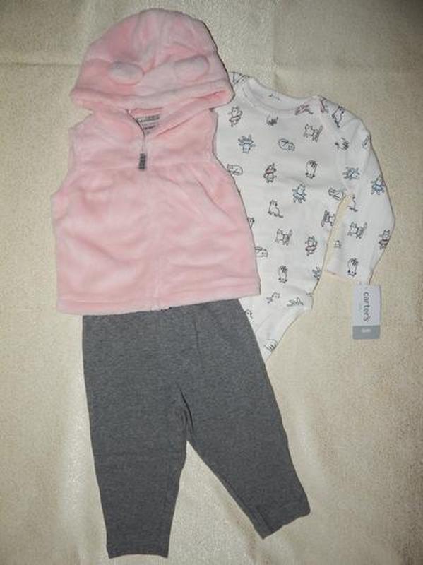 Комплект на девочку с розовой жилеткой carters 12, 18, 24 мес - Фото 4