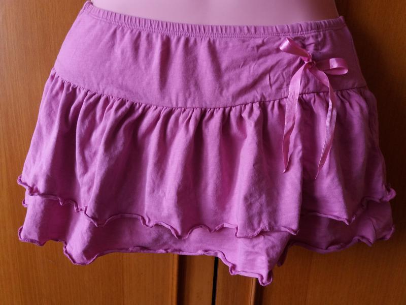 Яркая короткая котоновая  юбка на лето с бантом 12-13 лет! - Фото 2