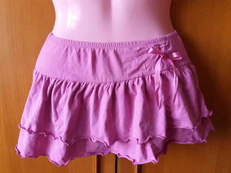 Яркая короткая котоновая  юбка на лето с бантом 12-13 лет! - Фото 3