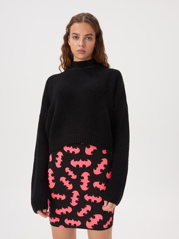 Новая короткая облегающая черная юбка мини принт летучая мышь ... - Фото 2