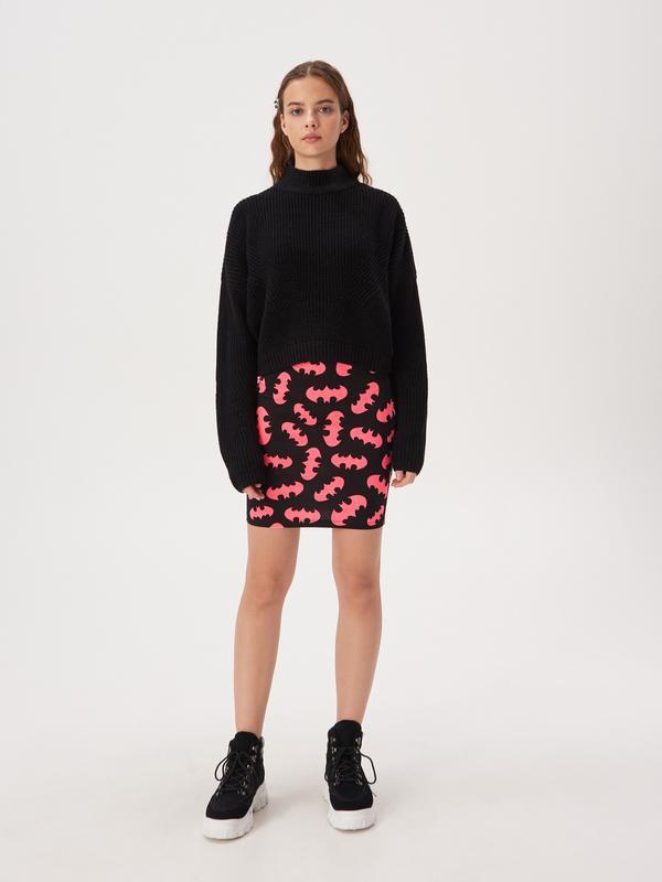 Новая короткая облегающая черная юбка мини принт летучая мышь ... - Фото 3