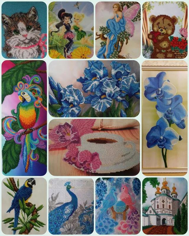 Картина вышита бисером синие орхидеи голубые цветы орхидея в рамк - Фото 8