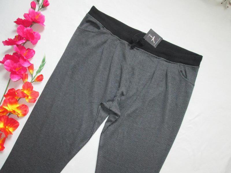 Шикарные трикотажные брюки принт зиг-заг большого размера высо... - Фото 3
