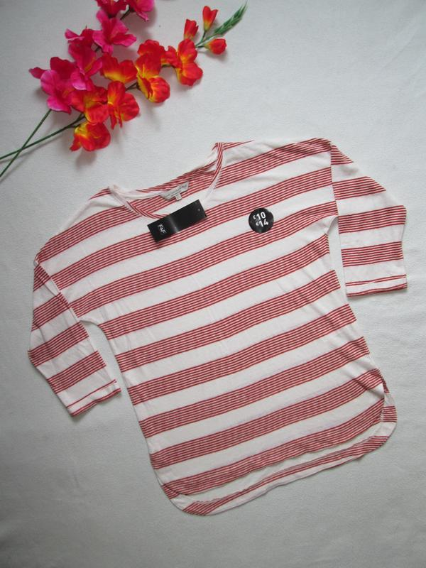 Трикотажная футболка реглан в полоску рукав 3\4  лён f&f